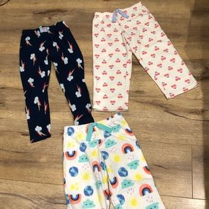 Other - 3 Pairs Of Girl's Pajama Pants Size 4T